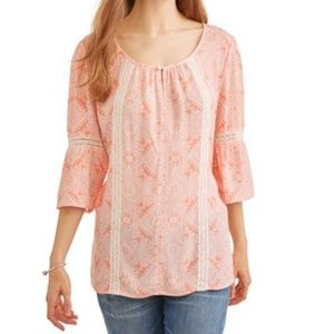 New! Cherokee Printed Gauze Peasant Top (XL)